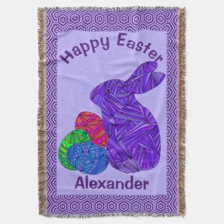紫色のイースターのウサギのイースターエッグのカラフルのウサギ スローブランケット