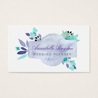 紫色のウェディングプランナーのヴィンテージの花柄のbusinesscard 名刺