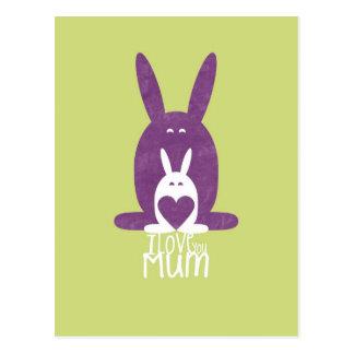 紫色のウサギのお母さん 葉書き
