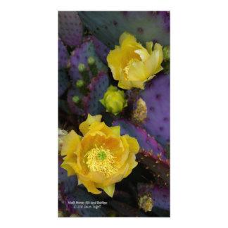 紫色のウチワサボテンのオプンティアのサボテンの黄色の花 フォトプリント