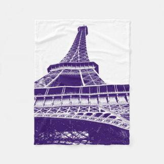 紫色のエッフェル塔 フリースブランケット