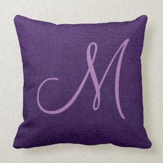 紫色のエレガントなモノグラムのキャンバスの一見 クッション