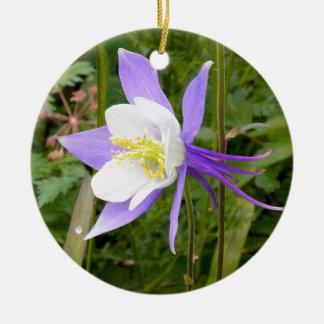 紫色のオダマキ(植物) セラミックオーナメント