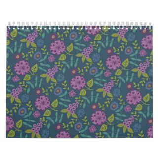 紫色のオリーブ色のモダンな花の花のプリント カレンダー
