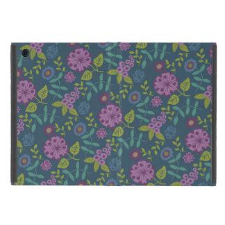 紫色のオリーブ色のモダンな花の花のプリント iPad MINI ケース