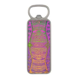 紫色のオレンジ緑の蛍光シマウマ マグネット栓抜き
