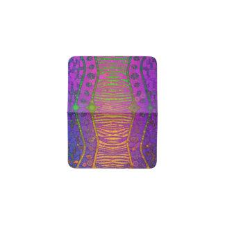紫色のオレンジ緑の蛍光シマウマ 名刺入れ