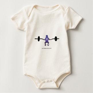 紫色のカエルの持ち上がる重量 ベビーボディスーツ