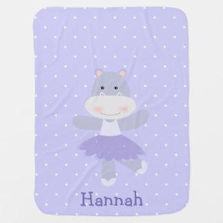 紫色のカバのバレリーナの女の赤ちゃんの毛布 ベビー ブランケット