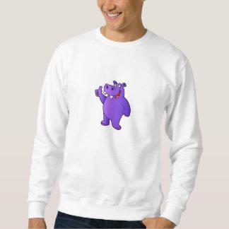 紫色のカバの漫画 スウェットシャツ