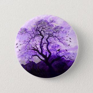 紫色のカラスの木の丘のワタリガラスボタン 5.7CM 丸型バッジ