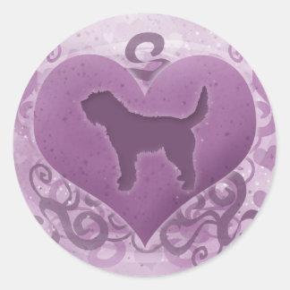 紫色のカワウソ猟犬のバレンタイン ラウンドシール