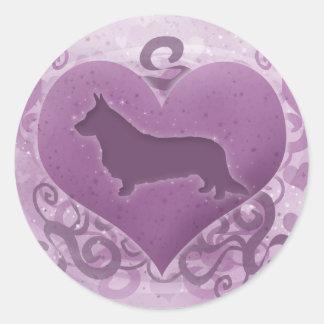 紫色のカーディガンのウェルシュコーギーのバレンタイン 丸形シールステッカー