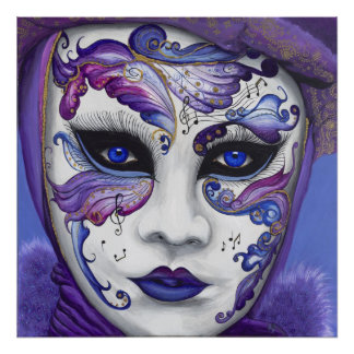 紫色のカーニバルのマスク ポスター