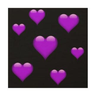 紫色のガラスハートはカスタマイズ可能タイルを張りました ウッドウォールアート