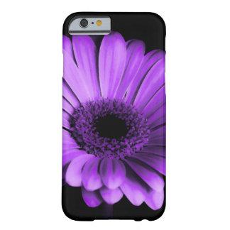 紫色のガーベラのデイジーの花との黒/夜 BARELY THERE iPhone 6 ケース