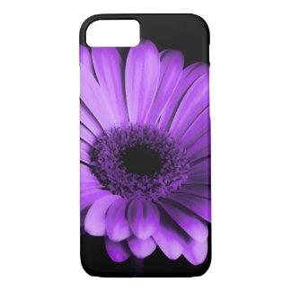 紫色のガーベラのデイジーの花との黒/夜 iPhone 8/7ケース