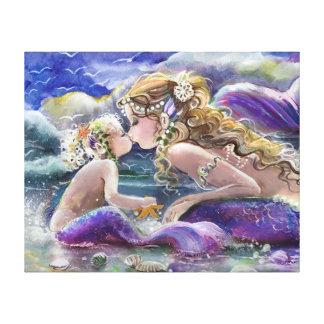 紫色のキスをするな母および子供の人魚 キャンバスプリント