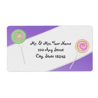 紫色のキャンデーの宝物住所 ラベル