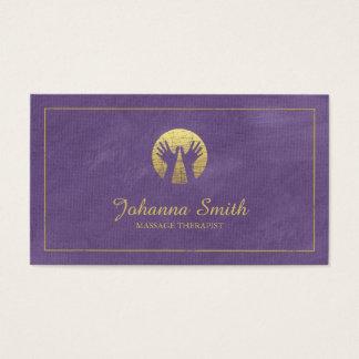 紫色のキャンバスの金フレーム、手のマッサージのセラピー 名刺