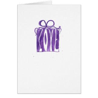 紫色のギフトのバレンタイン カード