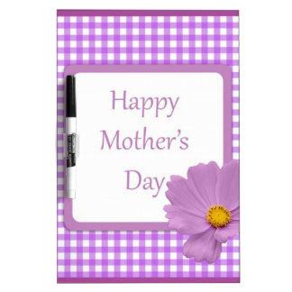 紫色のギンガムの母の日 ホワイトボード
