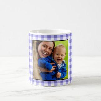 紫色のギンガムパターンカスタムの写真 コーヒーマグカップ
