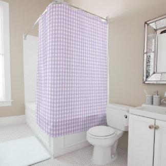 紫色のギンガムパターン シャワーカーテン