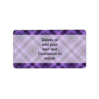 紫色のギンガムパターン ラベル