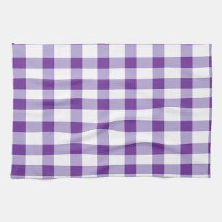 紫色のギンガム キッチンタオル