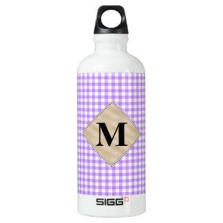 紫色のギンガム、真珠のモノグラム ウォーターボトル