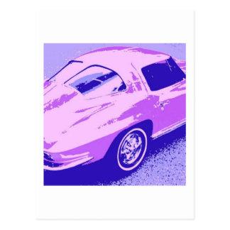 紫色のクラシックの割れた窓コルベット ポストカード