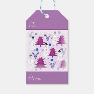 紫色のクリスマスのギフトのラベル ギフトタグ