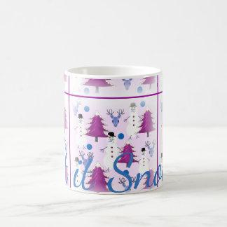 紫色のクリスマスのコーヒー・マグ コーヒーマグカップ