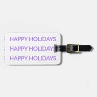 紫色のクリスマスツリーの{}幸せな休日版 ラゲッジタグ