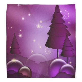 紫色のクリスマスツリー バンダナ