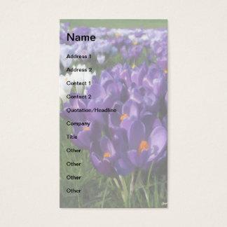 紫色のクロッカスの花のモノグラム 名刺
