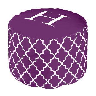 紫色のクローバー|のラウンドパフ プーフ