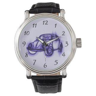 紫色のクールな車のスケッチ 腕時計