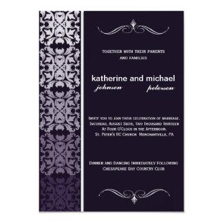 紫色のグラデーションなダマスク織の結婚式招待状 カード