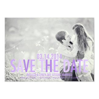 紫色のグラデーションな保存日付 カード