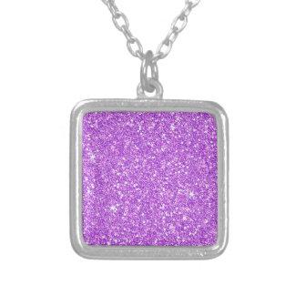 紫色のグリッターのダイヤモンドの贅沢な輝やき シルバープレートネックレス