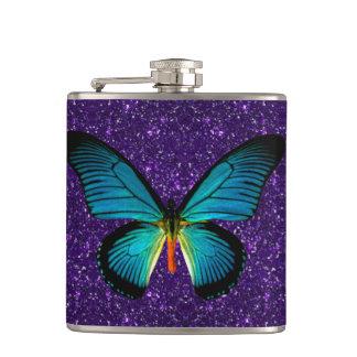 紫色のグリッターのフラスコの青い蝶 フラスク