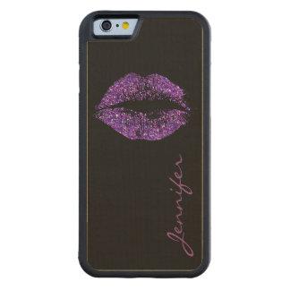 紫色のグリッターの唇 CarvedメープルiPhone 6バンパーケース