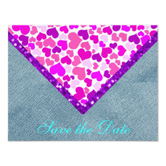 紫色のグリッターの国のハート/家のGrosch カード