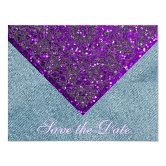 紫色のグリッターの国の素朴な結婚式のデニムの花嫁 カード