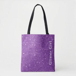 紫色のグリッターの女の子ショーGlamoursのあなたの輝き トートバッグ