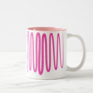 紫色のグリッターの渦巻 ツートーンマグカップ