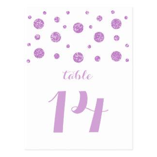 紫色のグリッターの紙吹雪のテーブル数郵便はがき ポストカード
