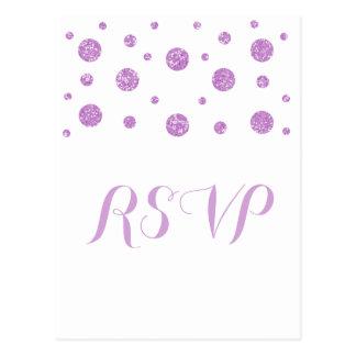 紫色のグリッターの紙吹雪の応答の郵便はがき ポストカード
